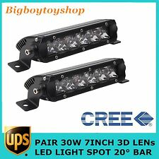 "2X 7""inch 30W 3D Single Row Led Light Bar Slim Spot Offroad Boat Bumper 4WD Jeep"