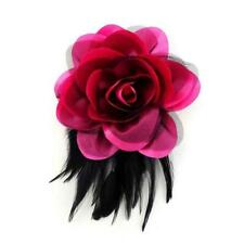 Large Pink Fabric and Black Feather Flower Fashion Brooch ( 0208 )