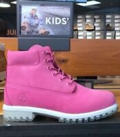 """TIMBERLAND WOMANS JUNIORS GIRLS 6"""" INCH PREMIUM PINK ROSE WATERPROOF BOOTS A18SO"""