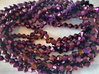 Joblot of 10 strings Purple color  6mm bicone shape Crystal beads new wholesale