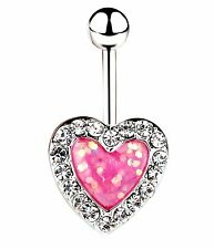 PINK OPAL HEART BELLY BAR Crystal Rhinestone Silver Love Navel Piercing Gift