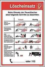 Schild Löscheinsatz falsch/richtig Handhabung Feuerlöscher selbstklebend