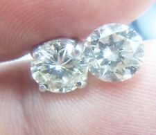 NATURAL EARTH MINED 1.15 CARAT SPARKLING BRILLIANT ROUND GOLD DIAMOND EARRINGS