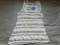 NWT Hazel Anthropology Women's Large Lace Sheer See Through Tank Top Taupe