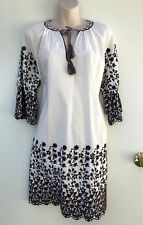"PIPER""Bohemian Rhapsody""White Brown Embroidery Boho Cotton Dress 10 NWT Rrp $129"