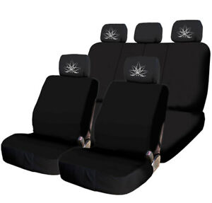 For KIA New Black Flat Cloth Car Seat Covers Lotus design Headrest Cover