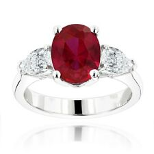 2Ct Oval Cut Pink Ruby Trilogy Engagement Ring 14K White Gold Finish Pear Accent