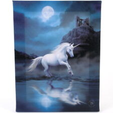 Moonlight Unicorn Anne Stokes Canvas Wall Plaque 19cm X 25cm