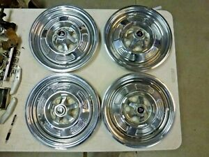 "4 Nice Original 1964 1965 1966 Plymouth Barracuda 13"" Hubcaps !"