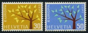 Switzerland 416-417,MNH.Michel 756-757. EUROPE CEPT-1962,Young Tree,19 leaves.