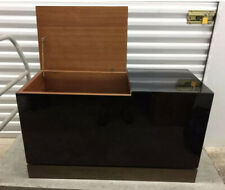 MID CENTURY MODERN J.C. MAHEY SIGNED BLACK LACQUER & BRASS TRUNK SIDE TABLE
