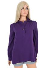 Vintage Mod 60s Alex Colman Solid Purple Blouse Shirt Top Long Sleeve Pullover M
