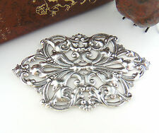 & Flower Stamping Oxidized (Fc-1) Antique Silver Art Nouveau Scrolling Leaf