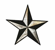 5 INCH Silver Black Nautical Star Embroidered Iron on Applique Patch FD