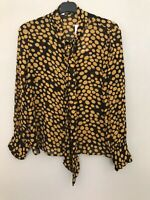 BNWT ZARA BLACK AND MUSTARD POLKA DOT BLOUSE WITH TIE DETAIL SIZE S