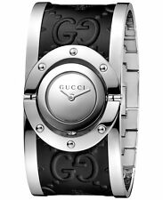 New Gucci Twirl Stainless Steel Black Leather Bangle Women's Watch YA112441