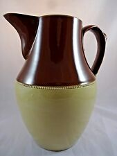 Art Deco Lovatt Langley Pottery Large 2Qt Salt Glazed Pitcher Circa 1930s Brown