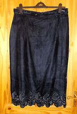 Midnight blue velvet long embroidered vintage midi calf evening skirt L 16 44