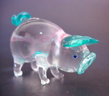 Glass PIG PIGLET Turquoise Blue Clear Glass Animal Glass Ornament Figure gift