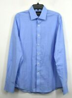 Stantt Mens Blue Eldridge Long Sleeve Shirt Button Front Spread Collar Cotton