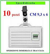 portabadge porta badge tesserino in plastica pvc trasparente con clip in metallo