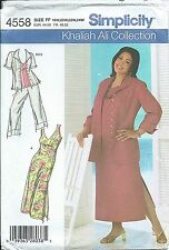S 4558 sewing pattern Khaliah Ali DRESS TOP cropped PANTS SHIRT JACKET sew 18-24