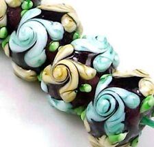 """Lampwork Handmade Glass Rondelle Beads """"Primrose Flower"""" VI (12)"""