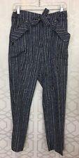 Chloe Pants  Pant Navy White Pinstriped Trouser Drawstring Waist NWT$1295 34