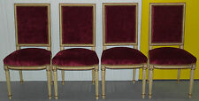 RRP £6000 LOUIS XV LAVAL FRANCE JACOB SET OF FOUR CRUSHED VELVET DINING CHAIRS