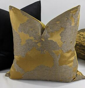 "Handmade Cushion Cover John Lewis Komako Gold 18""x18"""