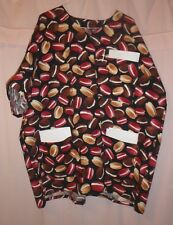 Cream-filled Cookies on Black Scrubs Top with 3 Pockets for Size 3X  FSMTP43