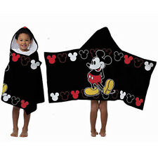 "Towel Hooded Disney Mickey Cotton 22.5"" x 51"" Black NEW"