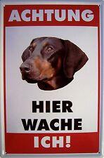 Atención perro dobermann chapa escudo Escudo de chapa de metal metal Tin sign 20 x 30 cm