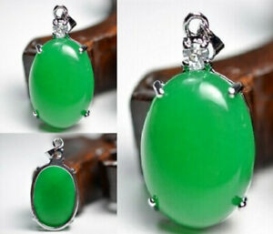 Crystal gem Quartzite Necklace Lucky pendant Fine jewelry 100% Natural Green new