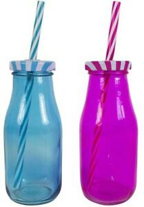 Retro Bottle Drinking Glass With Reusable Straws & Lids 300ml COLORING BOTTLE