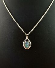 Genuine Lightning Ridge Triplet Opal Necklace Pendant / 18ct White Gold Plated