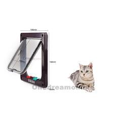 Brown Abs 4-Way Magnetic Lockable Cat Kitten Dog Pet Flap Door Small Medium12lb