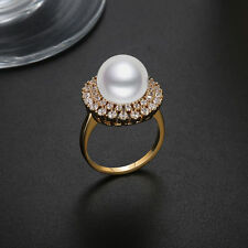Pearl Designer Gold Plated Cluster AAA CZ Women Fashion Jewelry Ring Size 8