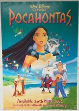 POCAHONTAS / WALT DISNEY / ORIGINAL VINTAGE LARGE VIDEO FILM POSTER / RARE
