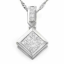 "0.60 Ct Princess G VS2 Natural Diamond Pendant Necklace 14k White Gold 16"" Chain"