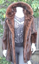 Genuine Ranch Mink Fur Brown Mahogany Double Breasted Coat Stroller Jacket S/M
