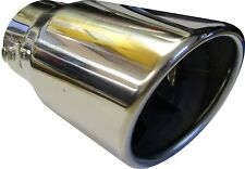 """6.25"""" 155MM ROUND ROLLED CAR EXHAUST TAIL PIPE TIP CHROME TRIM UNIVERSAL CLIP ON"""