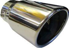 """6.25"""" 155mm ROUND laminati gas di scarico tubo di coda Punta Chrome Trim UNIVERSALE A CLIP"""