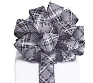 Gray White Black Diamond Pattern  #9 Ribbon Wired Edge Satin 20 yards 1.5 W