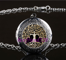Metal Tree of Life Cabochon Glass Gun Black Locket Pendant Necklace