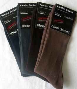4 Pair Men Socks without Rubber cocain 1/1 Ribbed 100% Bw 4 Colors 39 To 46