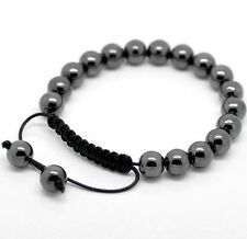 Mens gun metal grey hematite shamballa bracelet 19 beads with nylon cord