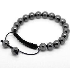 Para Hombre Gun Metal gris hematites Shamballa Pulsera 19 cuentas con nylon la cuerda
