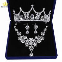 Bridal Wedding Prom Jewelry Set Crystal Rhinestone Necklace Earrings Tiara