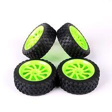 4pcs Rally Rubber Tires Green Wheel Rim 12mm Hex For HPI HSP 1/10 RC Model Car